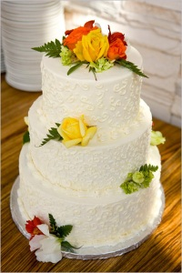 Crave Bakery Gluten Free Wedding Cake with Fresh Roses