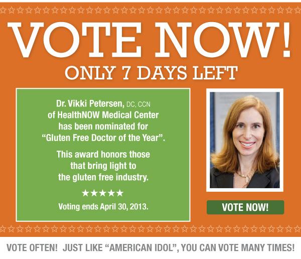 Our Favorite Gluten-Free Doc is Nominated- Dr. Vikki Petersen!